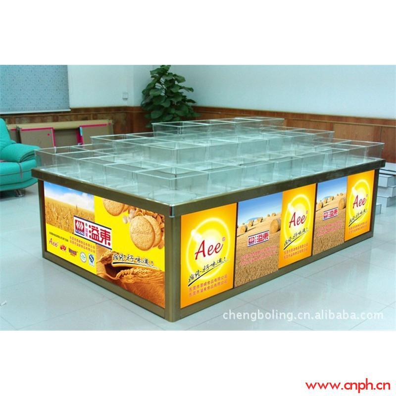 糖果饼干促销铝制展柜生产厂家 订做铝合金展柜 批发高档金色柜